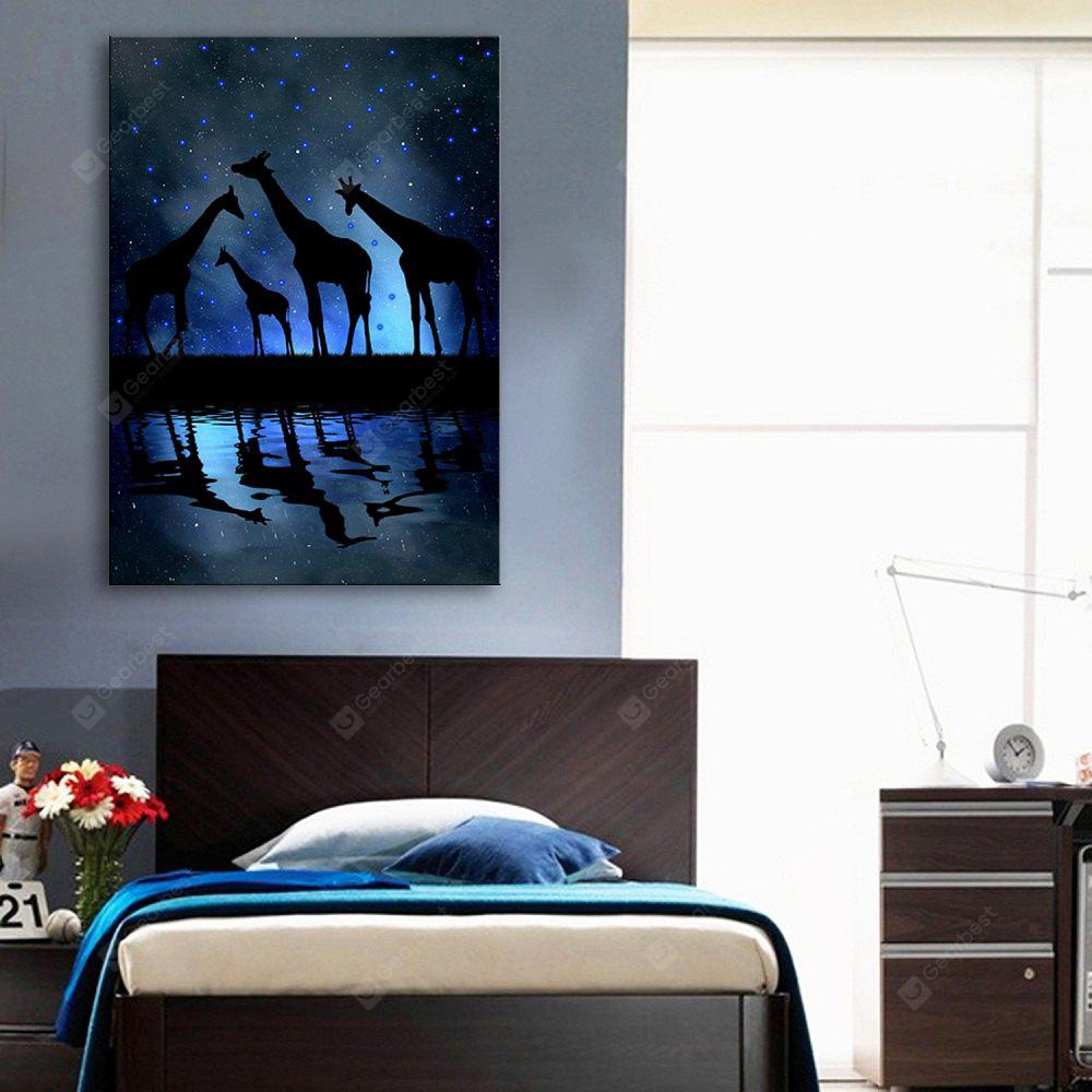 BLACK AND BLUE YC Stretched LED Canvas Print Art The Giraffe Flash Effect Optical Fiber Print 1pc