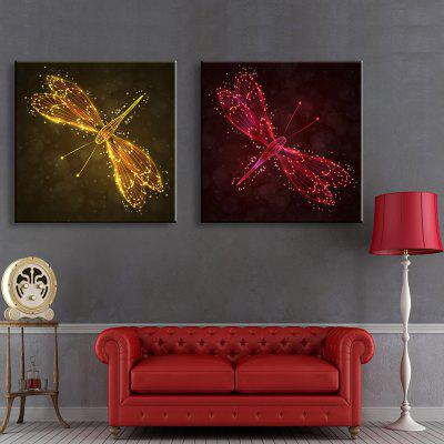 Buy YELLOW + ORANGE + RED YC Stretched LED Canvas Print Art The Dragonfly Flash Effect Optical Fiber Print 2pcs for $113.24 in GearBest store