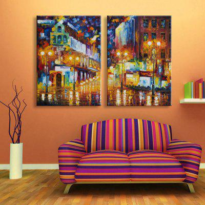 Buy YELLOW + GREEN + BLUE Yc Stretched Led Canvas Print Art The Abstract Street Flash Effect Led Flashing Optical Fiber Print Set of 2 for $113.24 in GearBest store