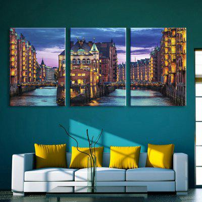 Buy YELLOW AND GREEN YC Stretched LED Canvas Print Art The Town Flash Flashing Effect Optical Fiber Print 3pcs for $134.06 in GearBest store