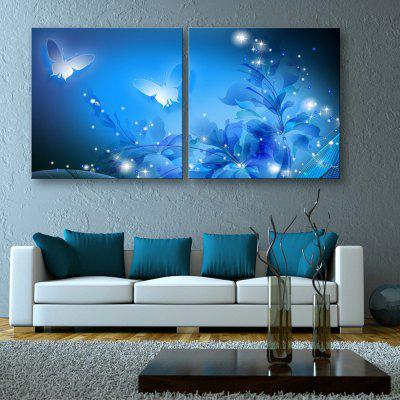 Yc Stretched Led Canvas Print Art Butterfly In Dream Flash Effect Led Flashing Optical Fiber Print Set of 2