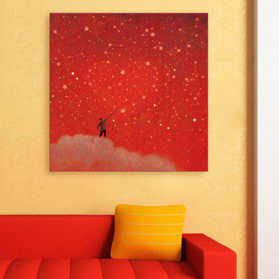 Yc Stretched Led Canvas Print Art The Red Heartflash Effect Led Flashing Optical Fiber Print Set of 2