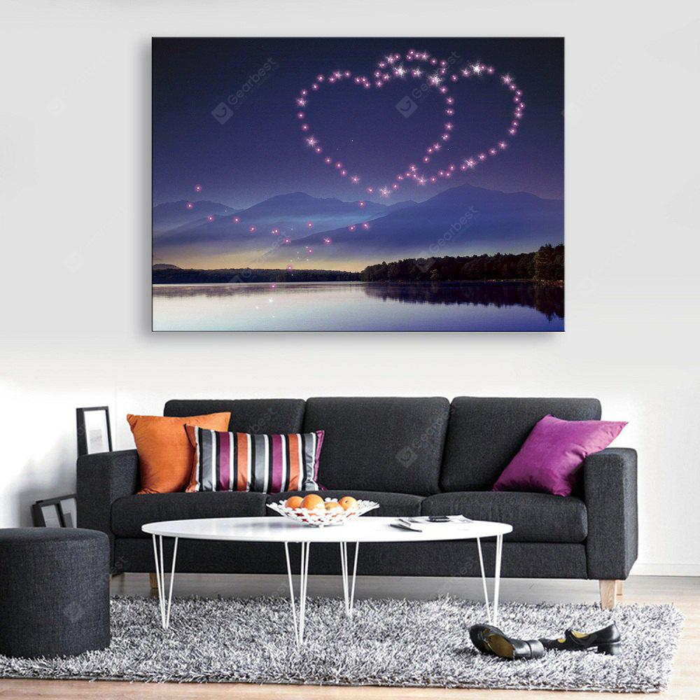 YC Stretched LED Canvas Print Art The Have Mutual Affinity Flash Effect Optical Fiber Print 1pc