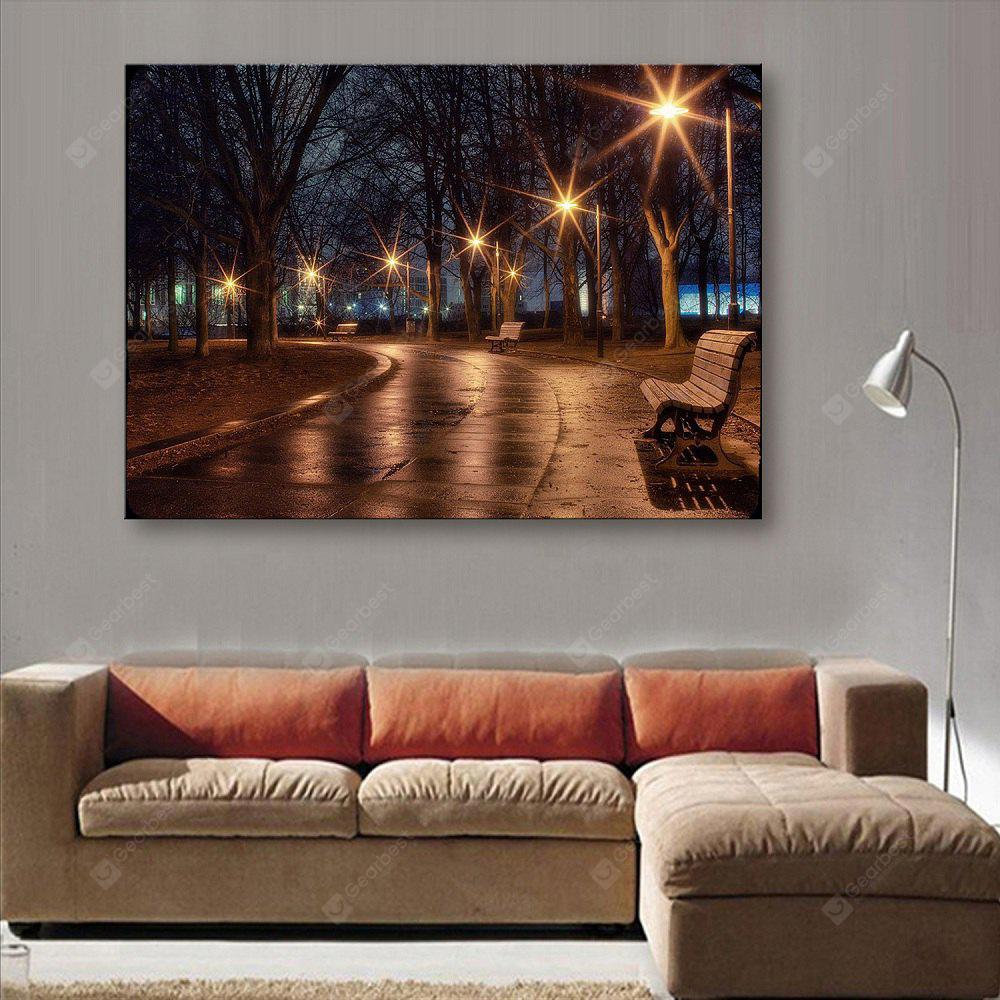 YC Stretched LED Canvas Print Art The Path In Woodland Flash Effect Optical Fiber Print 1pc