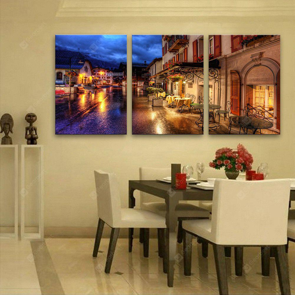 YC Stretched LED Canvas Print Art The Town By The Brook Flash Effect Optical Fiber Print 3pcs
