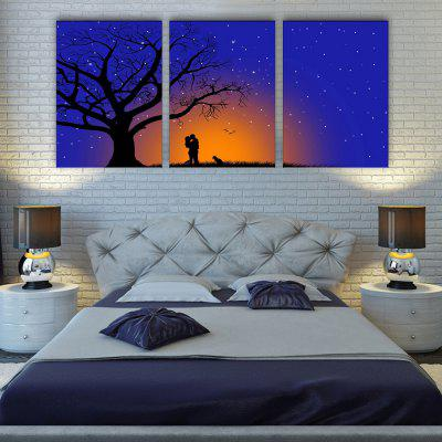 YC Stretched LED Canvas Print Art The trees Under The Setting Sun Flash Effect Optical Fiber Print 3pcs