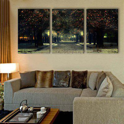YC Stretched LED Canvas Print Art The Walk Among Trees Flash Effect Optical Fiber Print 3pcs