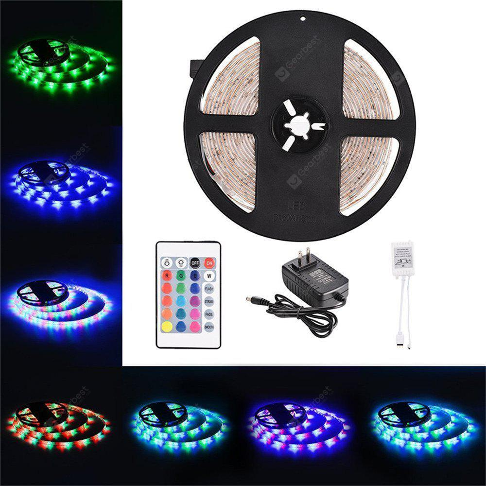 RGB COLOR Supli 5M Waterproof Flexible Strip Smd 3528 Rgb 300LEDS with 24KEY Ir Remote Control + 3A Power Adapter