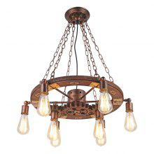 Brightness Vintage Pendant Lights Turnable Wood Gear Creative Industrial Lamp American Style for Living Room Restaurant Bars Decoration