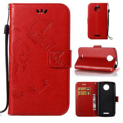 Buy RED Wkae Flowers Embossing Pattern PU Leather Flip Stand Case Cover for MOTO C MC for $5.78 in GearBest store