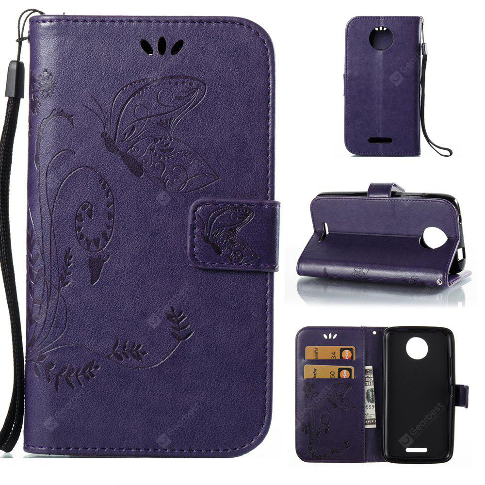 PURPLE Wkae Flowers Embossing Pattern PU Leather Flip Stand Case Cover for MOTO C MC