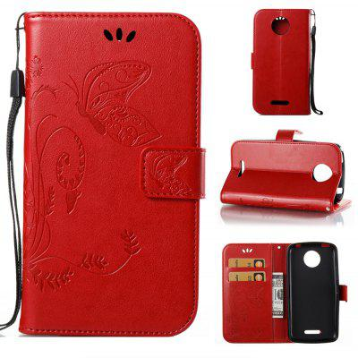 Buy RED Wkae Flowers Embossing Pattern PU Leather Flip Stand Case Cover for MOTO C Plus for $5.78 in GearBest store