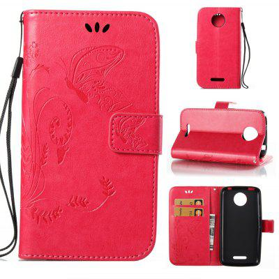 Buy ROSE RED Wkae Flowers Embossing Pattern PU Leather Flip Stand Case Cover for MOTO C Plus for $5.78 in GearBest store