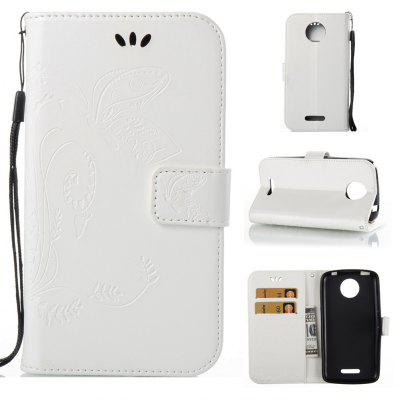 Buy WHITE Wkae Flowers Embossing Pattern PU Leather Flip Stand Case Cover for MOTO C Plus for $5.78 in GearBest store