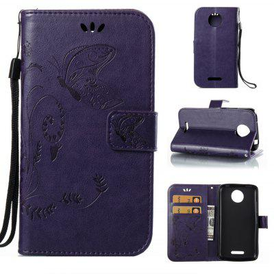 Buy PURPLE Wkae Flowers Embossing Pattern PU Leather Flip Stand Case Cover for MOTO C Plus for $5.78 in GearBest store