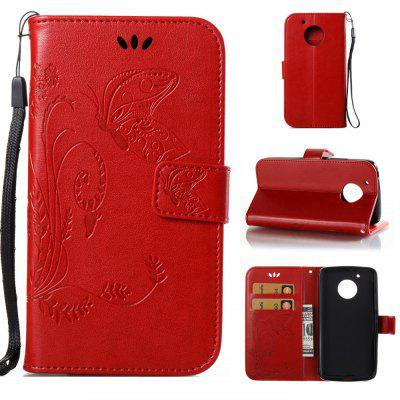Buy RED Wkae Flowers Embossing Pattern PU Leather Flip Stand Case Cover for MOTO G5 for $5.78 in GearBest store