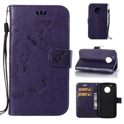 Buy PURPLE Wkae Flowers Embossing Pattern PU Leather Flip Stand Case Cover for MOTO G5 for $5.78 in GearBest store