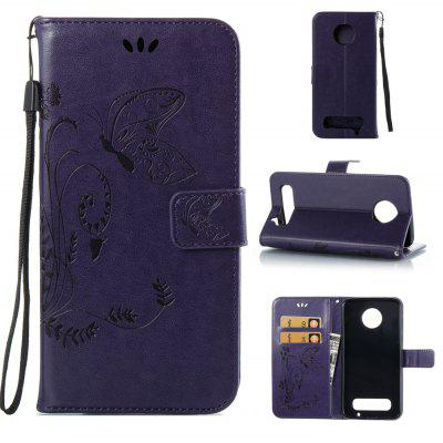 Buy PURPLE Wkae Flowers Embossing Pattern PU Leather Flip Stand Case Cover for MOTO Z2 Play for $5.78 in GearBest store