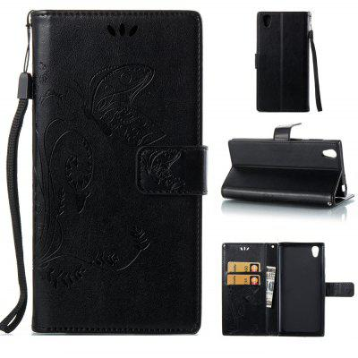 Buy BLACK Wkae Flowers Embossing Pattern PU Leather Flip Stand Case Cover for Sony Xperia L1 for $5.78 in GearBest store