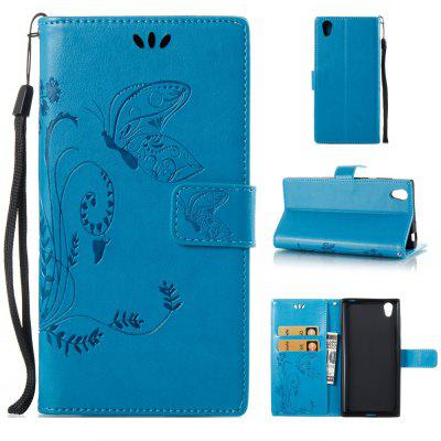 Buy BLUE Wkae Flowers Embossing Pattern PU Leather Flip Stand Case Cover for Sony Xperia L1 for $5.78 in GearBest store