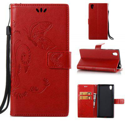 Buy RED Wkae Flowers Embossing Pattern PU Leather Flip Stand Case Cover for Sony Xperia L1 for $5.78 in GearBest store