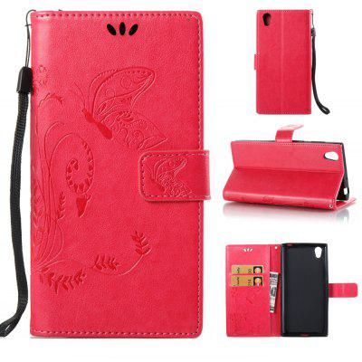 Buy ROSE RED Wkae Flowers Embossing Pattern PU Leather Flip Stand Case Cover for Sony Xperia L1 for $5.78 in GearBest store