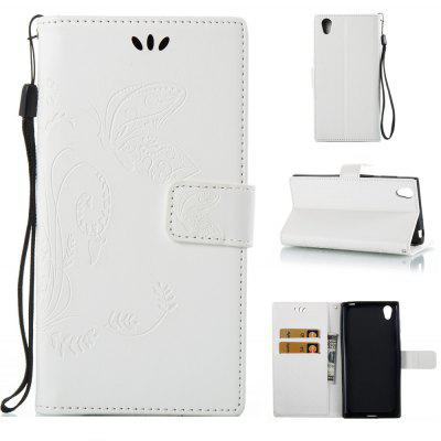 Buy WHITE Wkae Flowers Embossing Pattern PU Leather Flip Stand Case Cover for Sony Xperia L1 for $5.78 in GearBest store