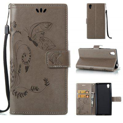 Buy GRAY Wkae Flowers Embossing Pattern PU Leather Flip Stand Case Cover for Sony Xperia L1 for $5.78 in GearBest store