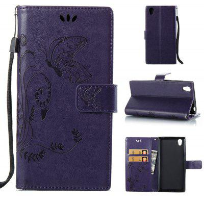 Buy PURPLE Wkae Flowers Embossing Pattern PU Leather Flip Stand Case Cover for Sony Xperia L1 for $5.78 in GearBest store