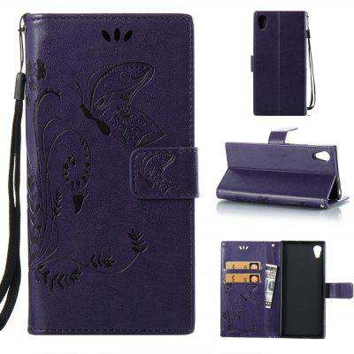 Buy PURPLE Wkae Flowers Embossing Pattern PU Leather Flip Stand Case Cover for Sony Xperia XA 2017 for $5.78 in GearBest store