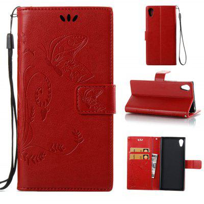 Buy RED Wkae Flowers Embossing Pattern PU Leather Flip Stand Case Cover for Sony Xperia XA 2017 for $5.78 in GearBest store