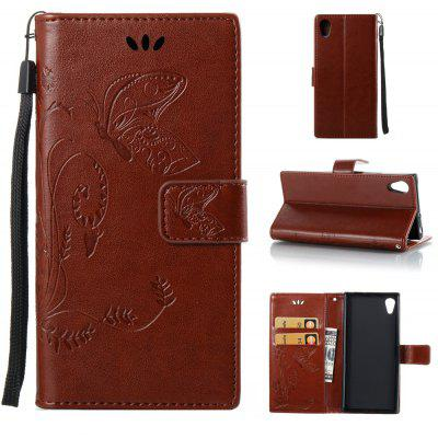 Buy DEEP BROWN Wkae Flowers Embossing Pattern PU Leather Flip Stand Case Cover for Sony Xperia XA 2017 for $5.78 in GearBest store