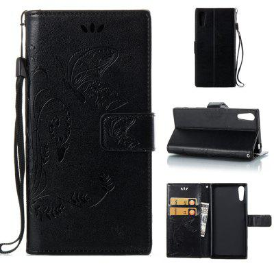 Buy BLACK Wkae Flowers Embossing Pattern PU Leather Flip Stand Case Cover for Sony Xperia XZ for $5.78 in GearBest store