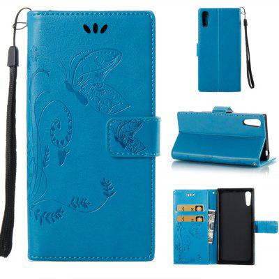 Buy BLUE Wkae Flowers Embossing Pattern PU Leather Flip Stand Case Cover for Sony Xperia XZ for $5.78 in GearBest store