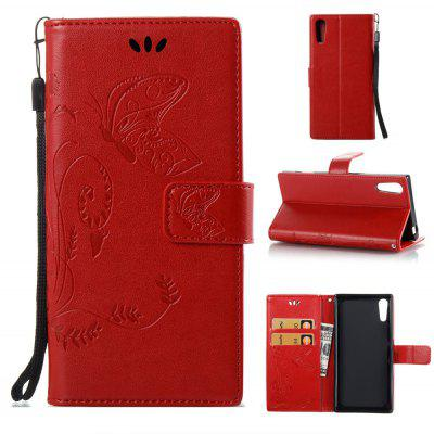 Buy RED Wkae Flowers Embossing Pattern PU Leather Flip Stand Case Cover for Sony Xperia XZ for $5.78 in GearBest store
