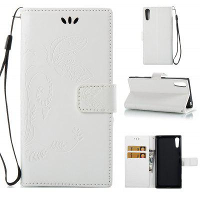 Buy WHITE Wkae Flowers Embossing Pattern PU Leather Flip Stand Case Cover for Sony Xperia XZ for $5.78 in GearBest store