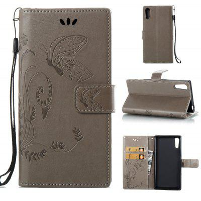 Buy GRAY Wkae Flowers Embossing Pattern PU Leather Flip Stand Case Cover for Sony Xperia XZ for $5.78 in GearBest store
