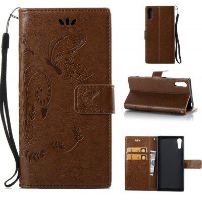 Buy COFFEE Wkae Flowers Embossing Pattern PU Leather Flip Stand Case Cover for Sony Xperia XZ for $5.78 in GearBest store