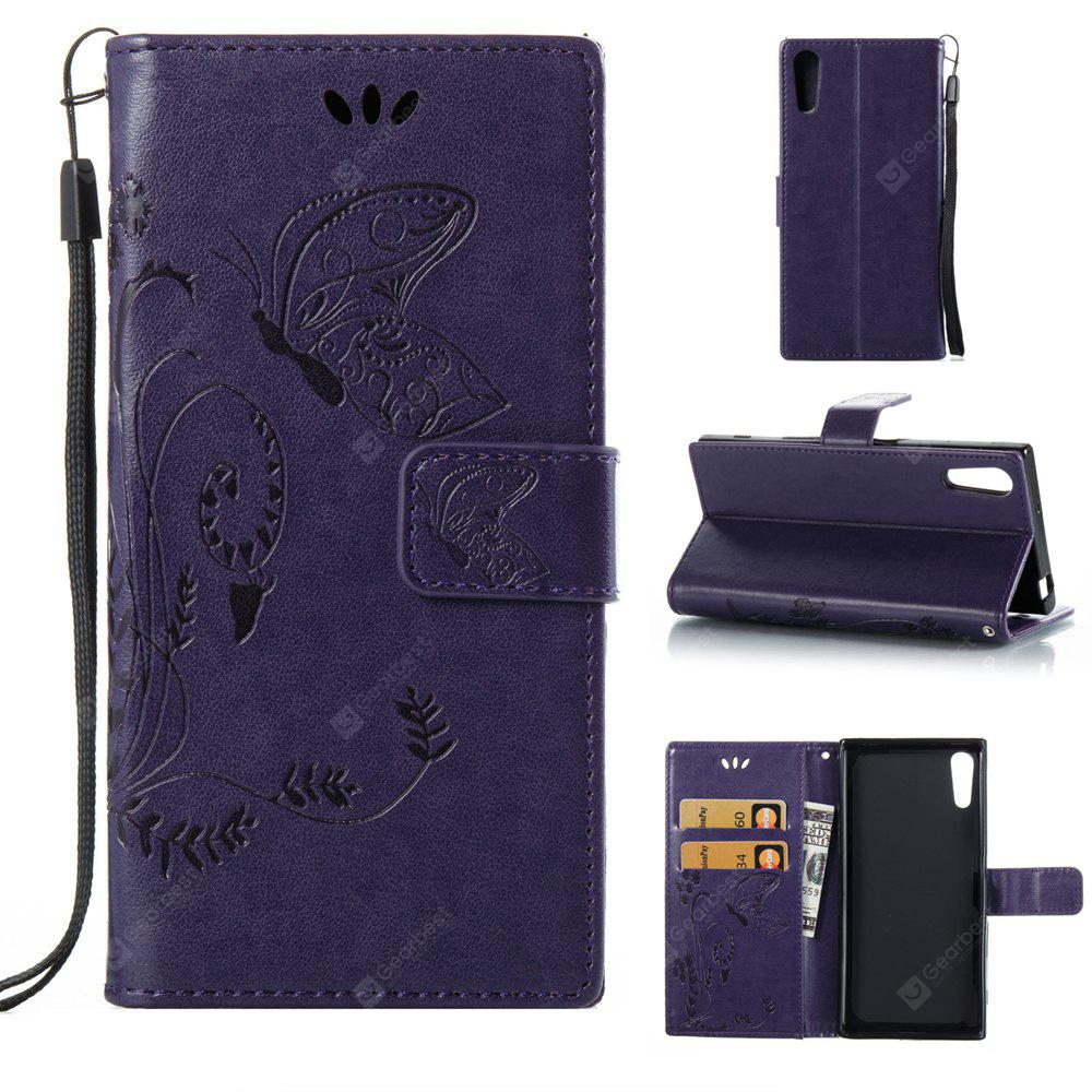 PURPLE Wkae Flowers Embossing Pattern PU Leather Flip Stand Case Cover for Sony Xperia XZ