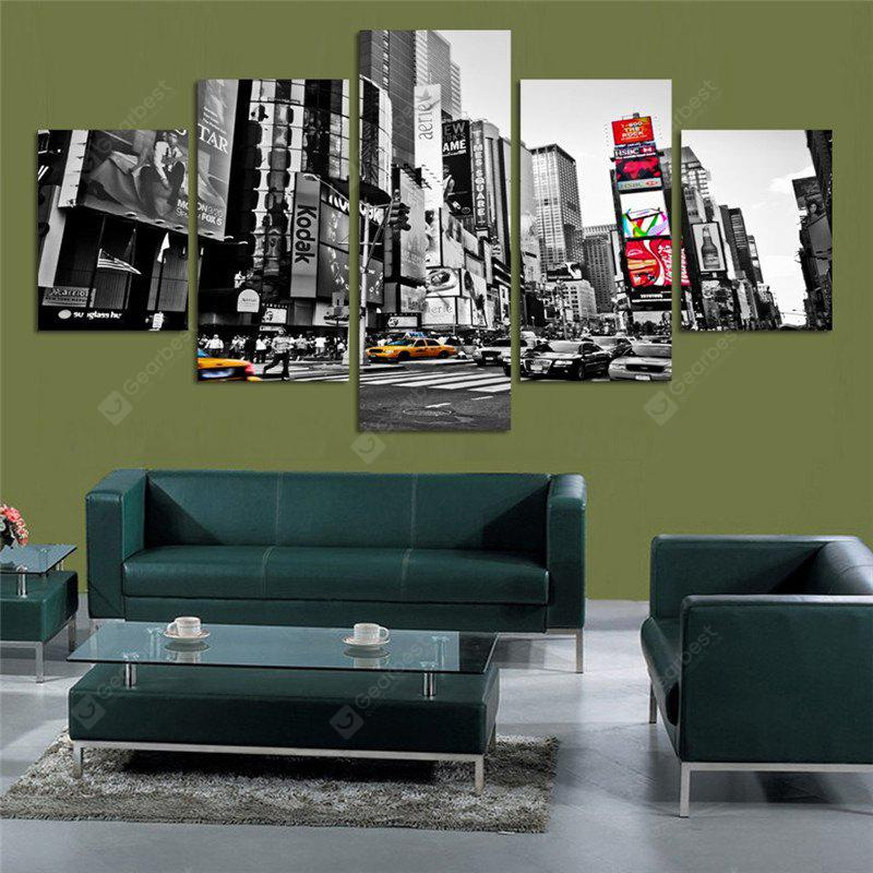 5PCS City Landscape Printed Painting Canvas Unframed Wall Art