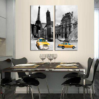 2PCS European City Streets Printed Painting Canvas Print Unframed Wall Art