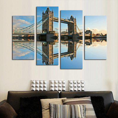 4PCS Tower Bridge Scenery Printed Painting Canvas Unframed Wall Art