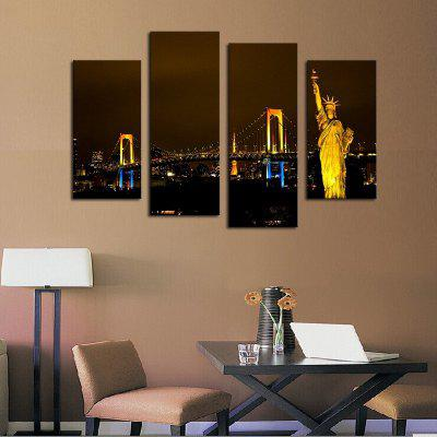 4PCS Statue of Liberty Printed Painting Canvas Unframed Wall Art