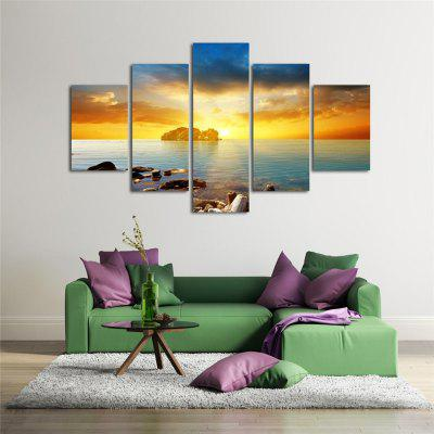 5PCS Sea Sunset Printed Painting Canvas Unframed Wall Art