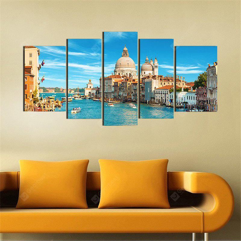 5PCS Venice Cityscape Printed Painting Canvas Unframed Wall Art