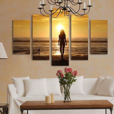 Buy COLORMIX 5PCS Beautiful Sunset Printed Painting Canvas Unframed Wall Art for $22.05 in GearBest store