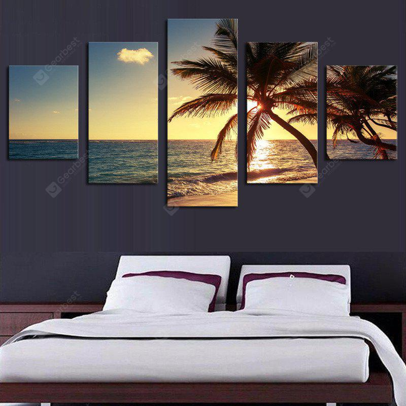 5PCS Sea Scenery Printed Painting Canvas Unframed Wall Art