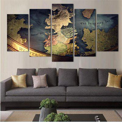 5PCS Earth Abstract Pattern Printed Painting Canvas Unframed Wall Art