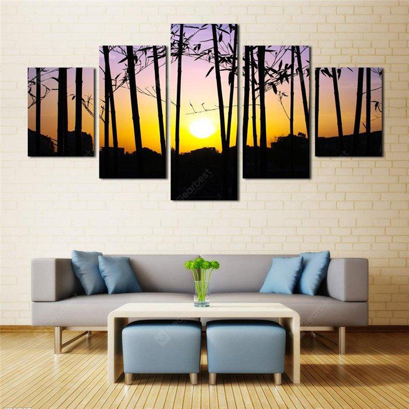 5PCS Forest Sunset Printed Painting Canvas Unframed Wall Art