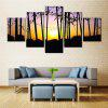 5PCS Forest Sunset Printed Painting Canvas Unframed Wall Art - COLORMIX